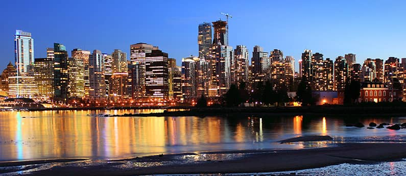View of the Vancouver BC skyline at dusk.