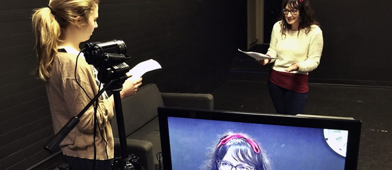 A student being recorded and learning the art of acting on camera